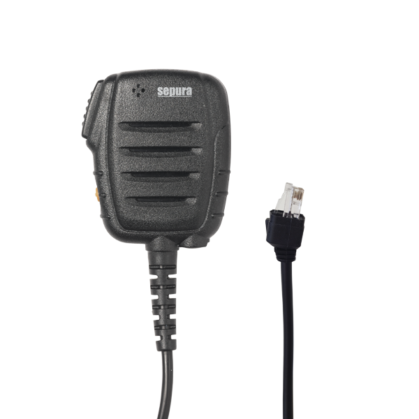 Front view of Fist or Speaker microphone in black with PTT and separate emergency button
