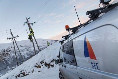SFE Energy group van in mountainous region of Norway