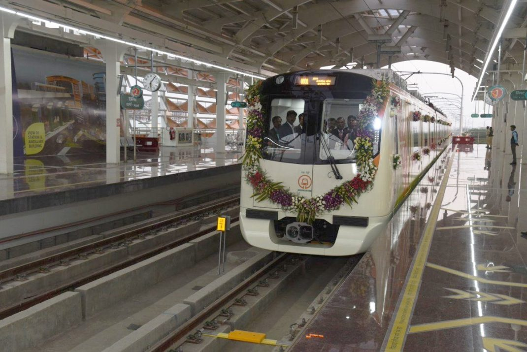 The first train to run along Nagpur's new metro lines