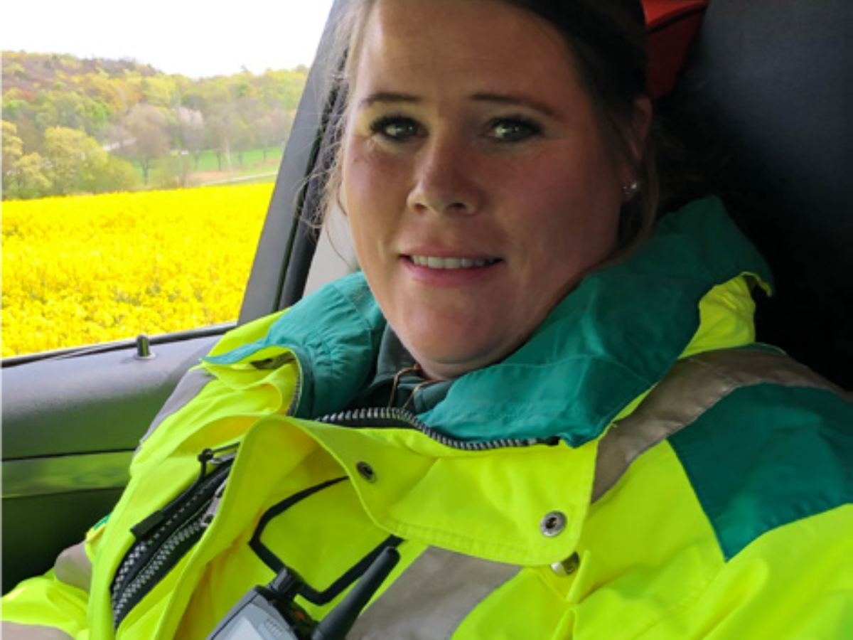 Kungsbacka Ambulance Service female medic wearing Sepura SC21 radio