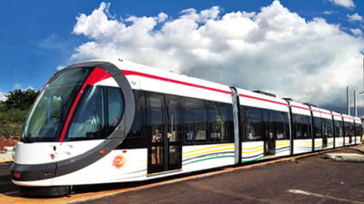 Some of the new Mauritius Metro train units in service.