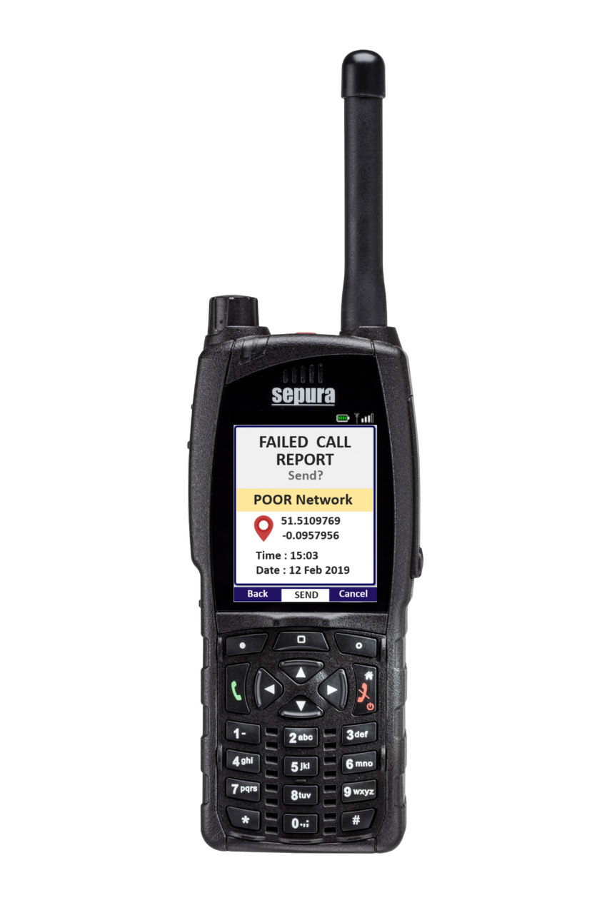 Sepura SC20 hand-portable radio Dropped Call Report application screen