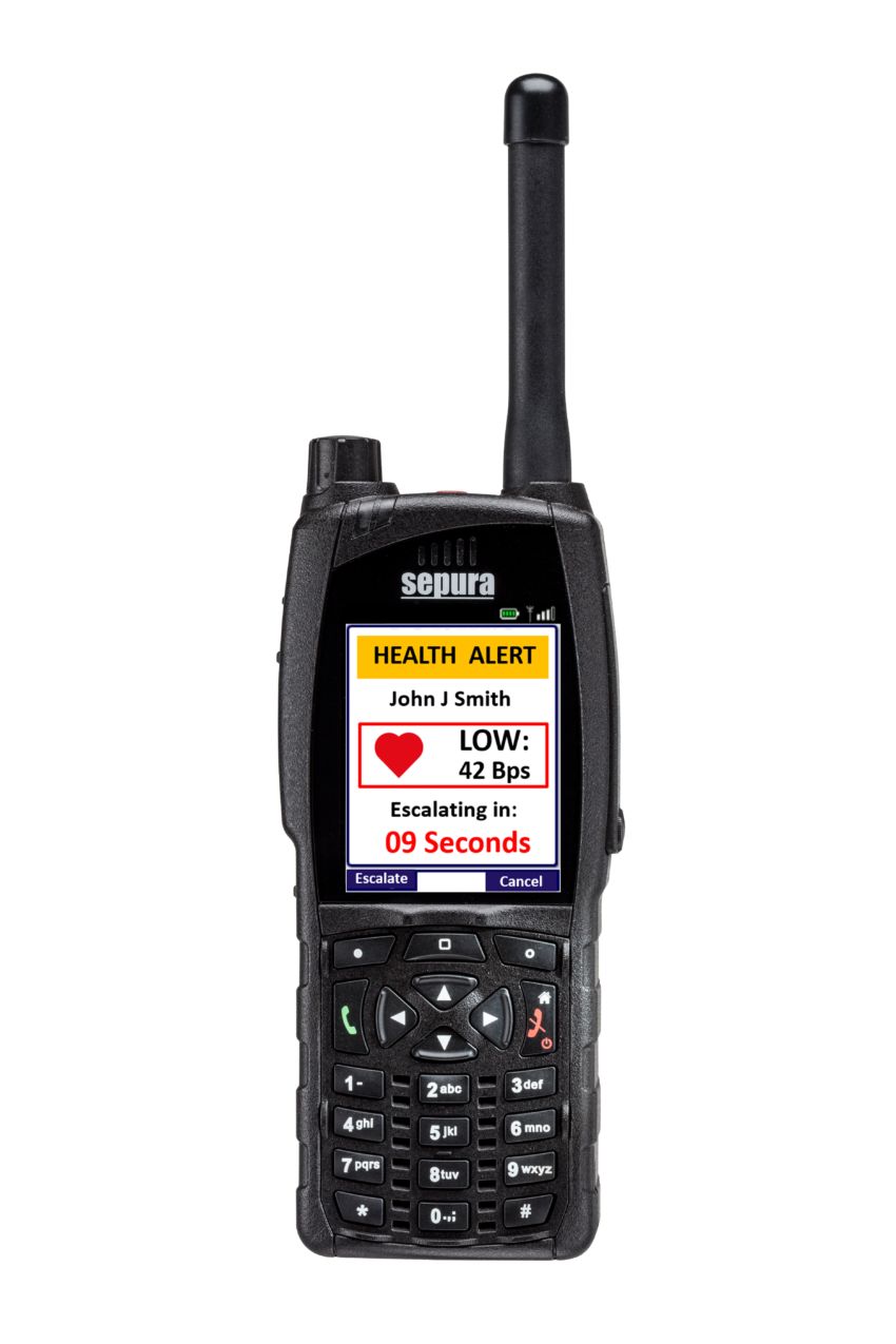 Sepura SC20 hand-portable radio Health Alert application screen