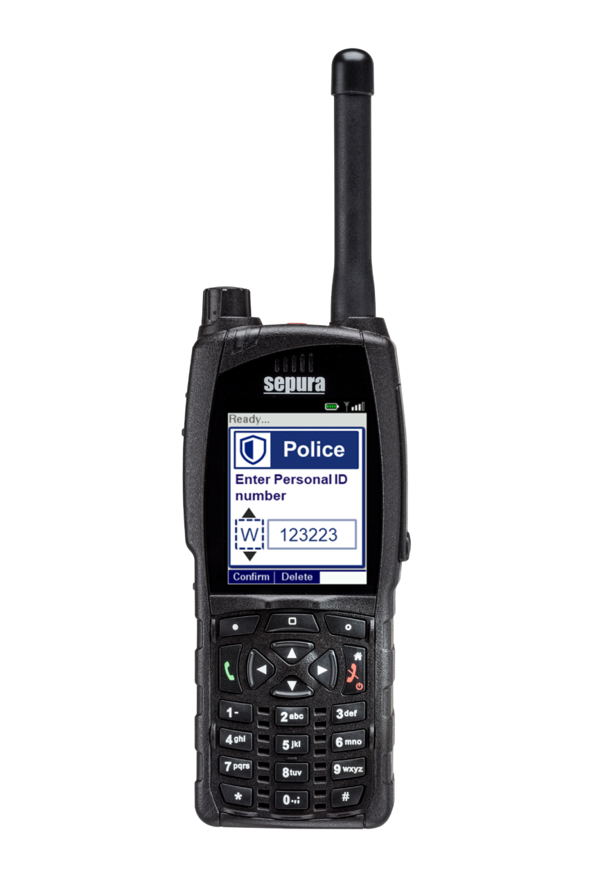 Sepura SC20 hand-portable radio Asset Track application screen