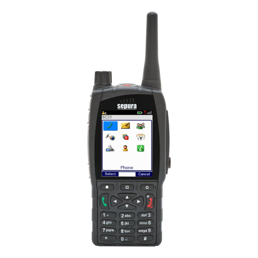 SC21 hand-portable radio with grid menu on screen 1200x1200px